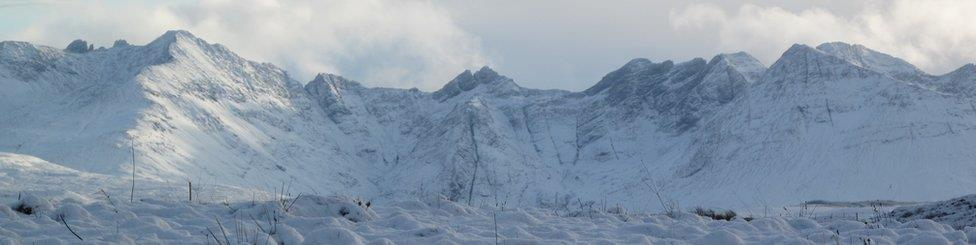 cuillin mountains in snow