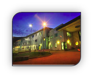 Portree High School at night